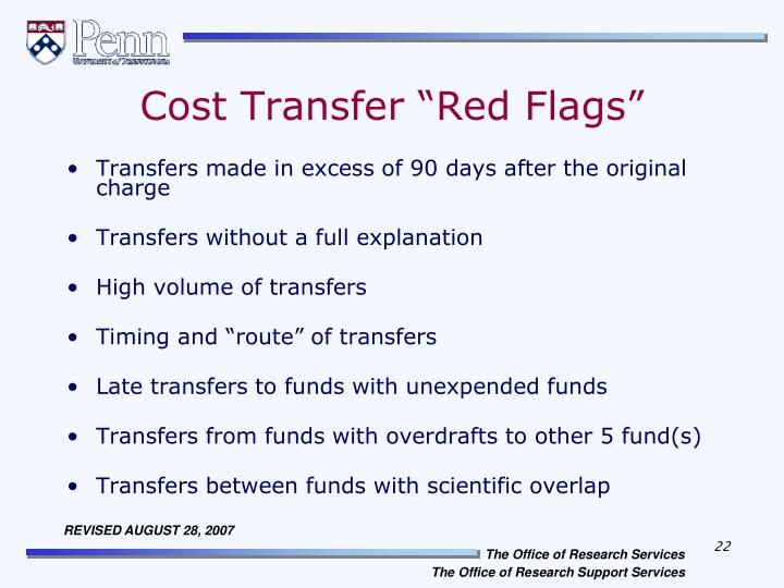 "Cost Transfer ""Red Flags"""