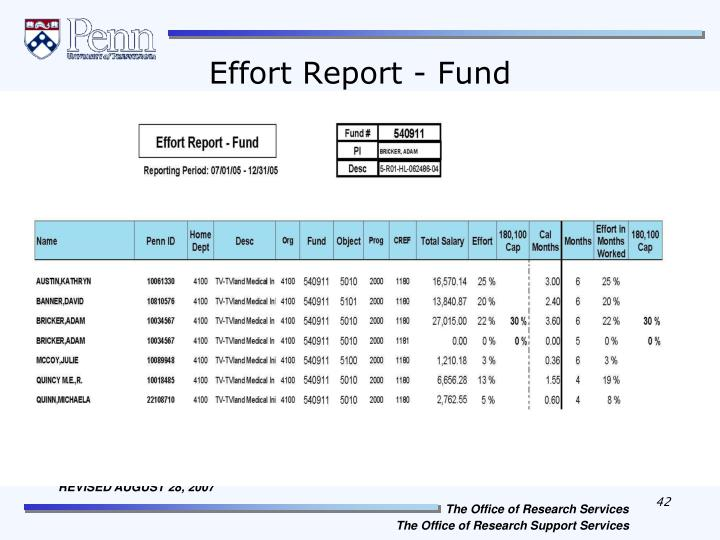 Effort Report - Fund