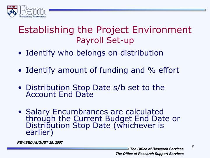 Establishing the Project Environment
