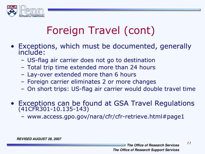 Foreign Travel (cont)