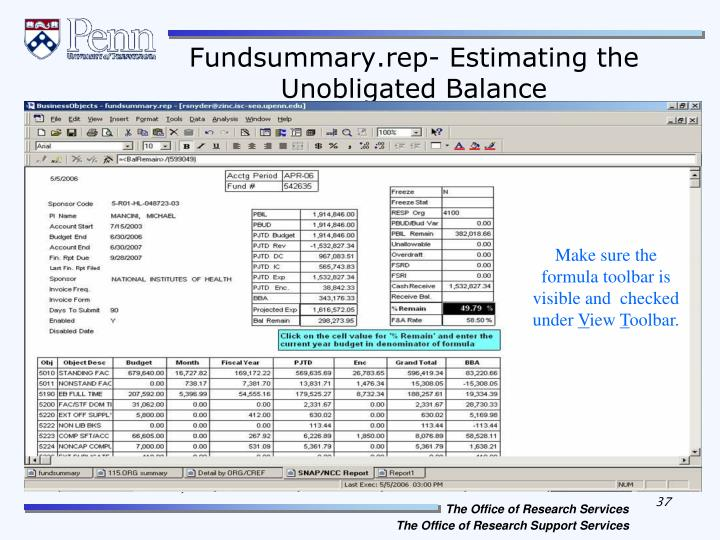 Fundsummary.rep- Estimating the Unobligated Balance