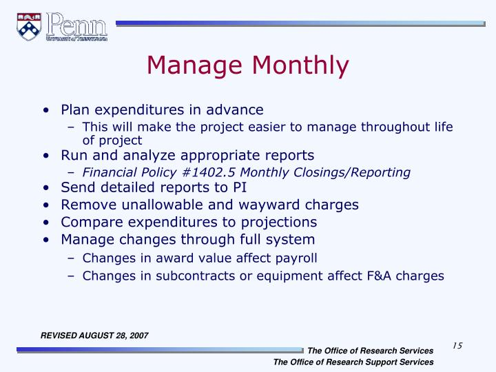 Manage Monthly