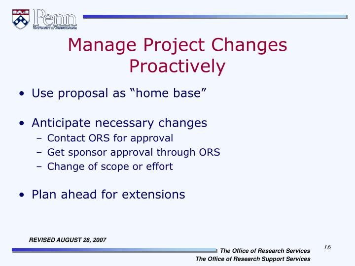 Manage Project Changes Proactively