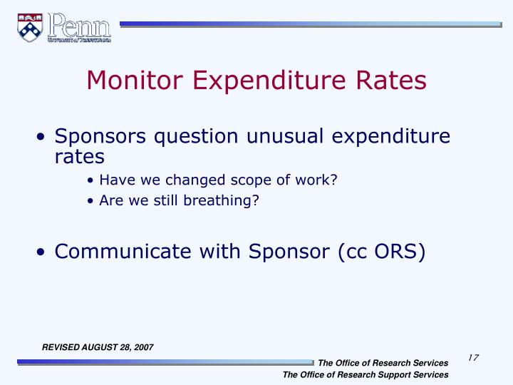Monitor Expenditure Rates