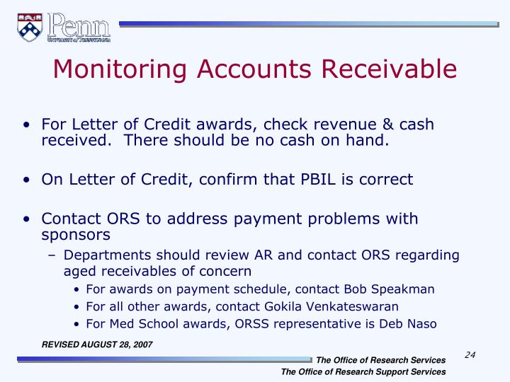 Monitoring Accounts Receivable