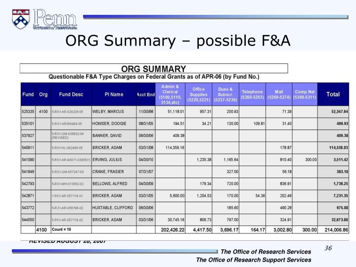 ORG Summary – possible F&A