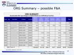 org summary possible f a