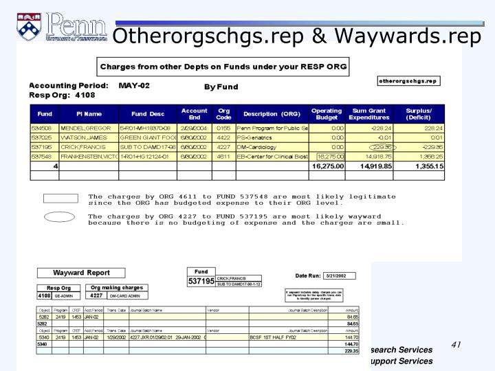 Otherorgschgs.rep & Waywards.rep
