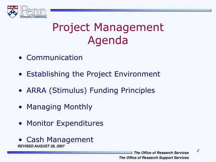 Project management agenda