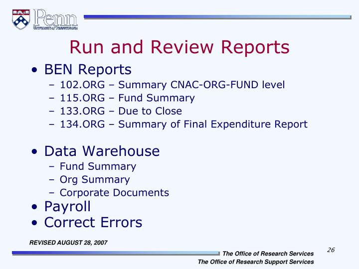Run and Review Reports