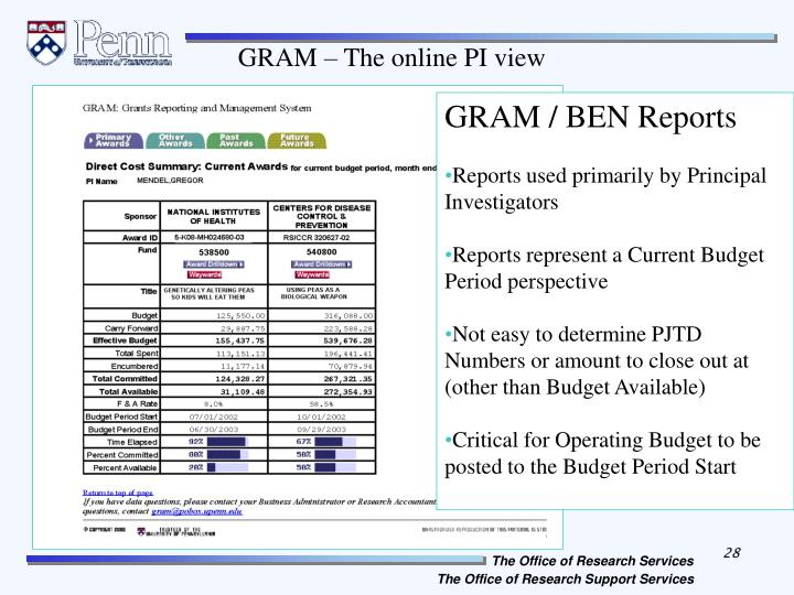GRAM – The online PI view