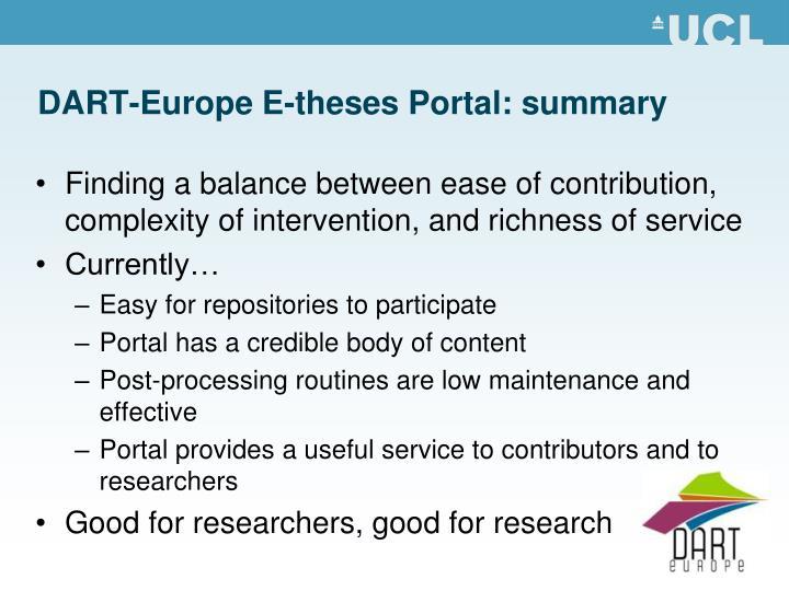 DART-Europe E-theses Portal: summary