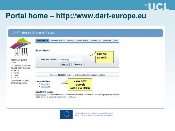 Portal home – http://www.dart-europe.eu