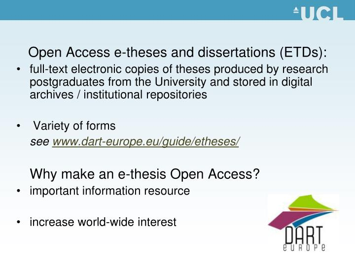 Open Access e-theses and dissertations (ETDs):
