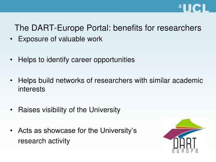 The DART-Europe Portal: benefits for researchers