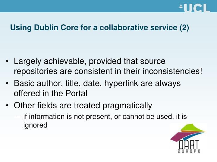 Using Dublin Core for a collaborative service (2)