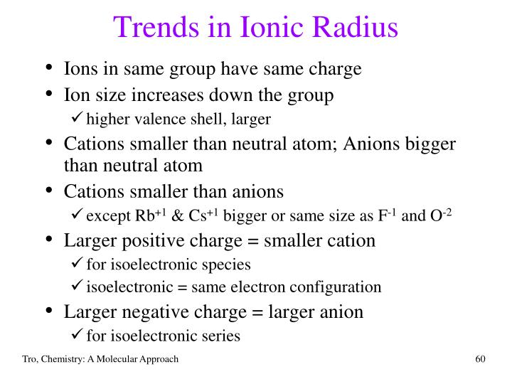 Trends in Ionic Radius