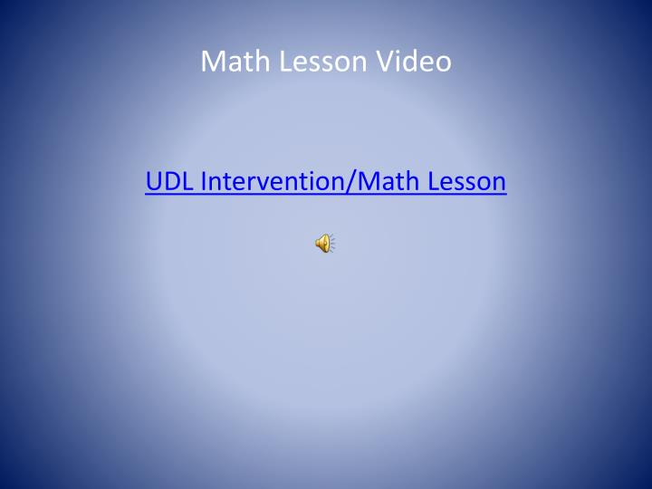Math Lesson Video