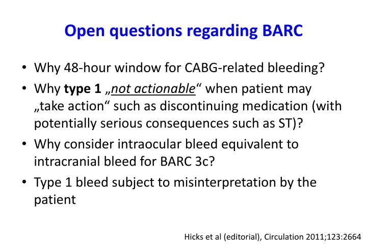 Open questions regarding BARC