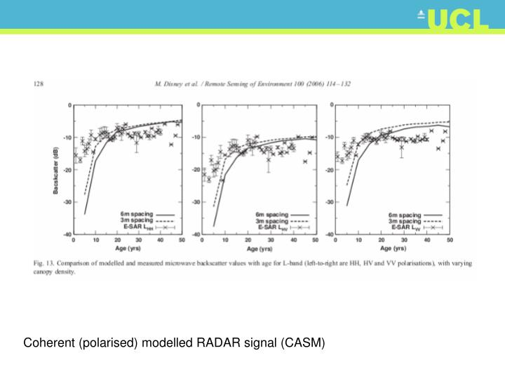 Coherent (polarised) modelled RADAR signal (CASM)