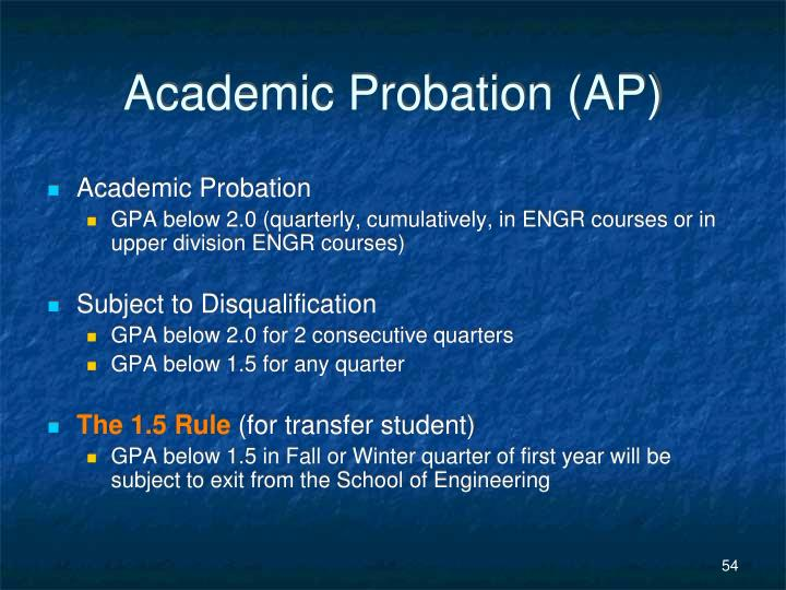 Academic Probation (AP)