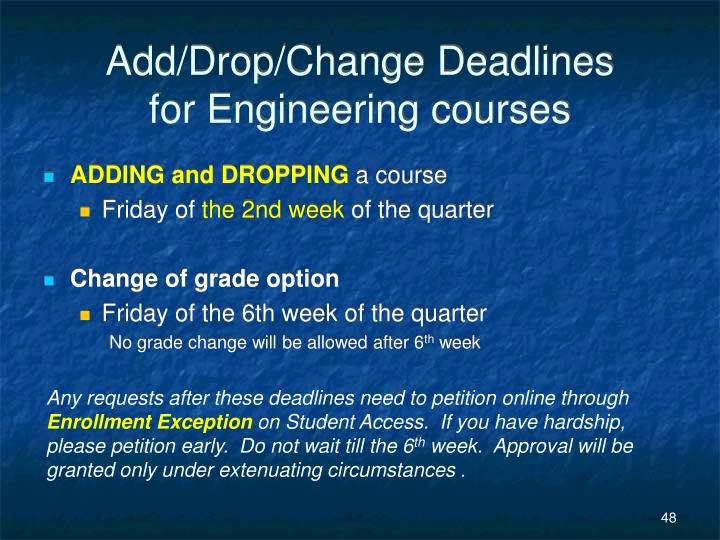 Add/Drop/Change Deadlines