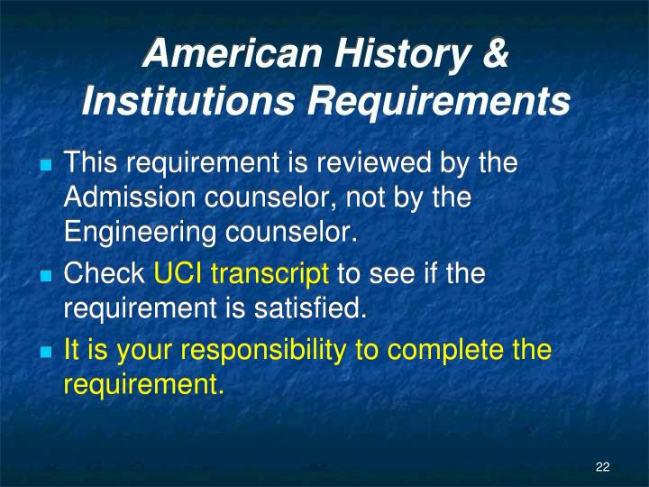 American History & Institutions Requirements