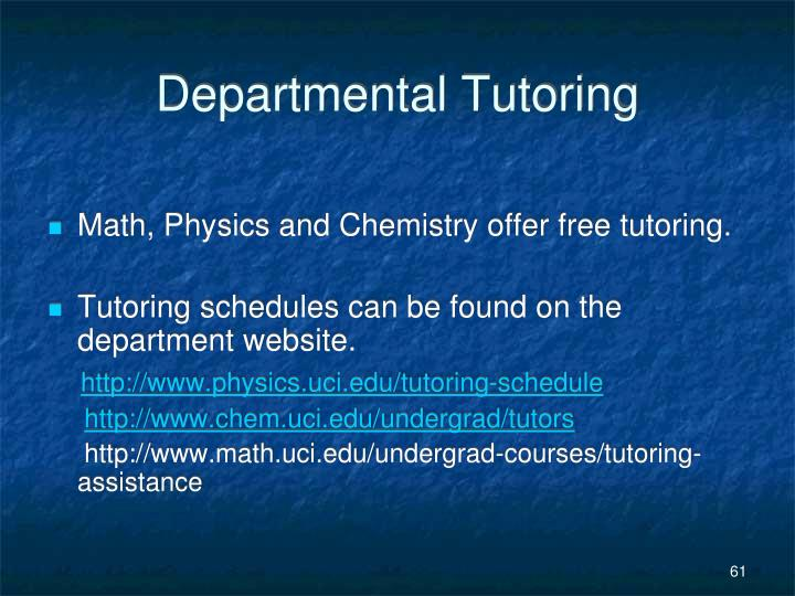 Departmental Tutoring