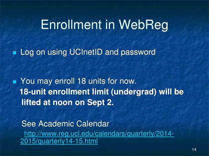 Enrollment in WebReg