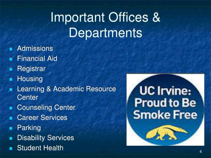 Important Offices & Departments