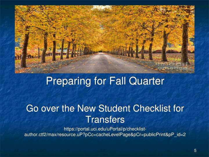 Preparing for Fall Quarter