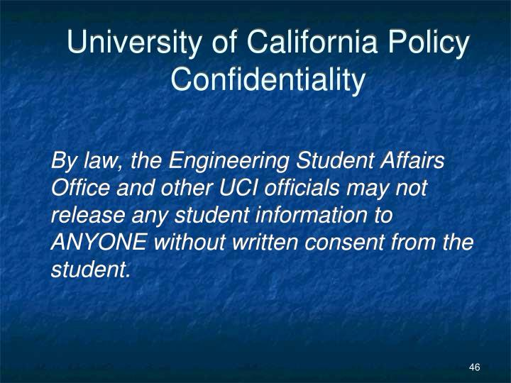 University of California Policy Confidentiality