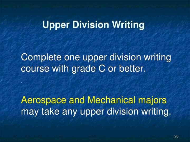 Upper Division Writing