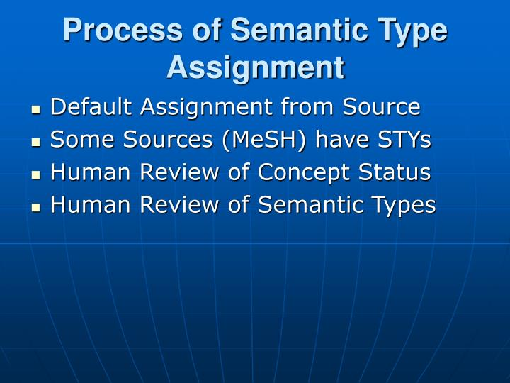 Process of Semantic Type Assignment