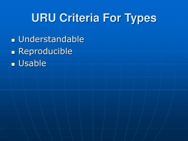 URU Criteria For Types