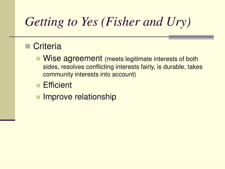 Getting to Yes (Fisher and Ury)