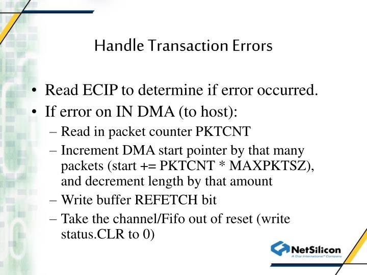 Handle Transaction Errors