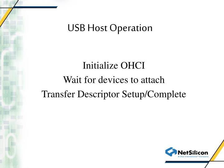 USB Host Operation
