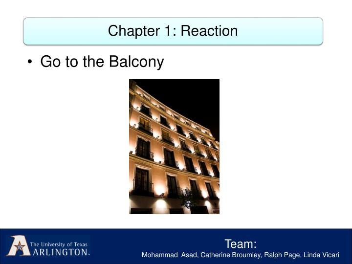 Chapter 1: Reaction
