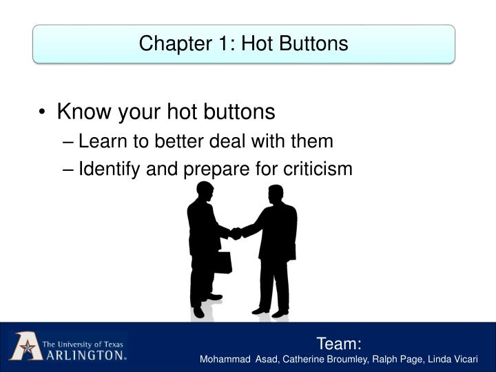 Chapter 1: Hot Buttons