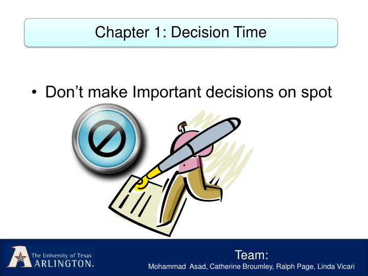 Chapter 1: Decision Time