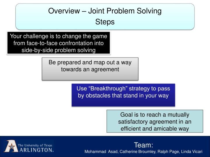 Your challenge is to change the game from face-to-face confrontation into side-by-side problem solving