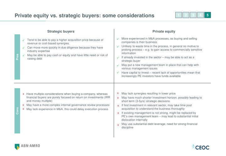 Private equity vs. strategic buyers: some considerations