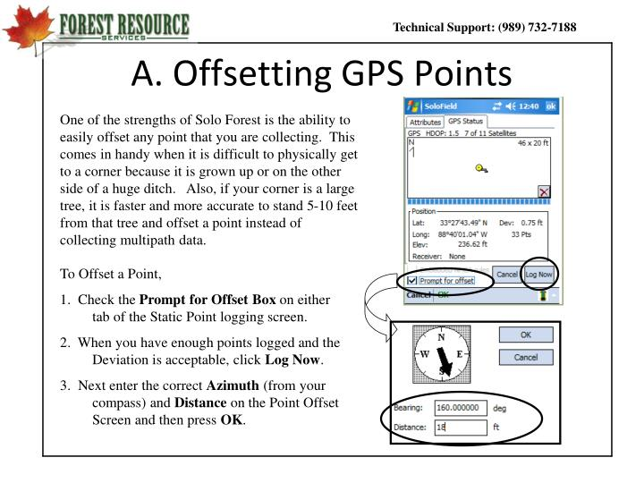 A offsetting gps points