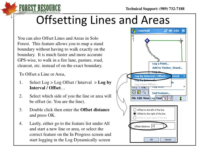 Offsetting lines and areas