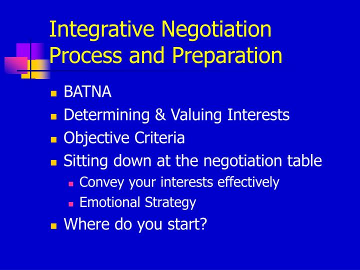 Integrative Negotiation Process and Preparation