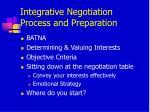 integrative negotiation process and preparation