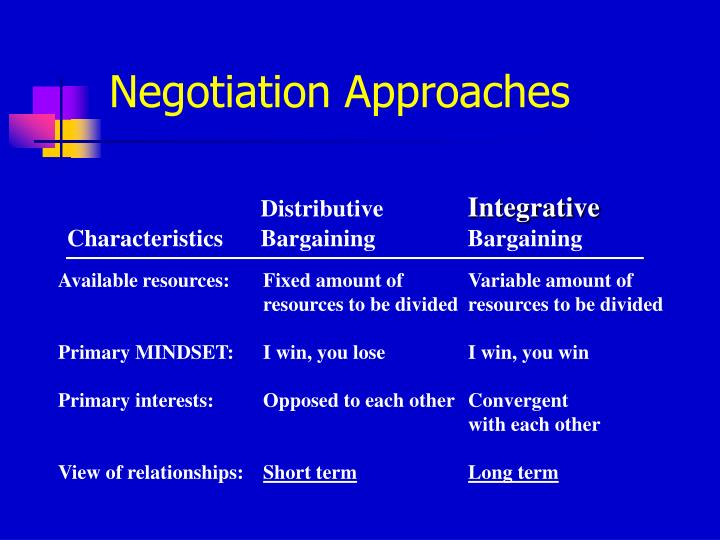 Negotiation Approaches
