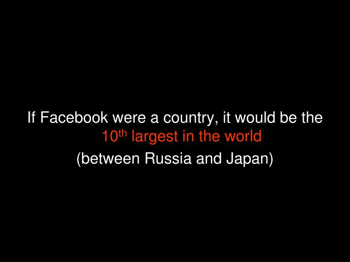 If Facebook were a country, it would be the