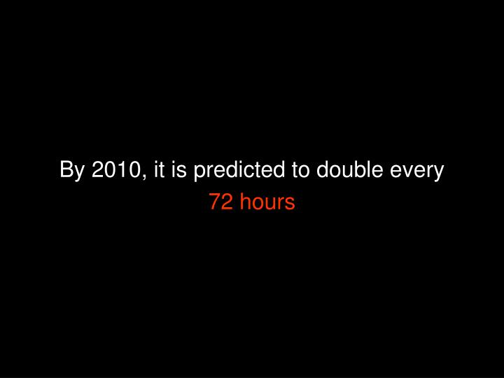 By 2010, it is predicted to double every